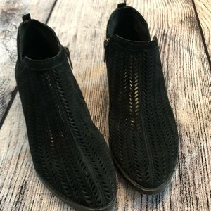 Vince Camuto Shoes - Vince Camuto, perforated, black suede bootie, US 8